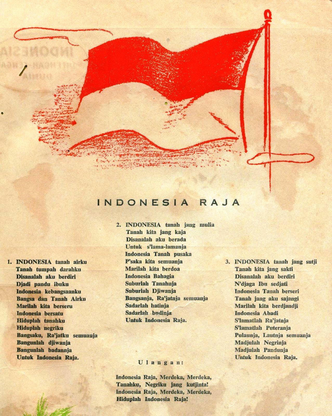 Lagu Indonesia Raya 3 Stanza Brainly
