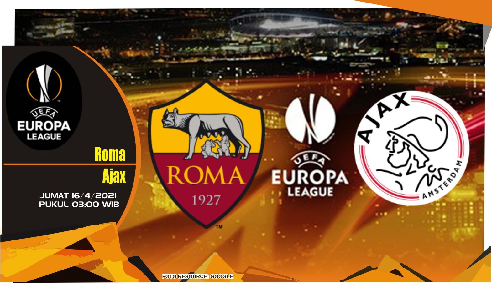 Roma vs Ajax - Prediksi Liga Europa 16 April 2021