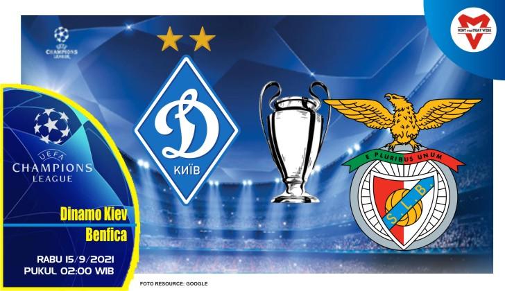 Prediksi Dinamo Kiev vs Benfica - Liga Champions 15 September 2021